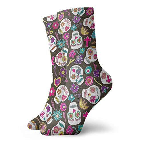 Womens Flowers Floral Sugar Skulls Art Printed Funny Novelty Casual Socks ()