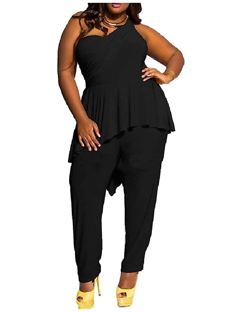 Winwinus Women Skinny Oversize Stretch Inclined Shoulder Jumpsuits Rompers