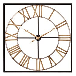 Patton Wall Decor 36 Inch Square Bronze and Gold Metal Cut Out Roman Numeral Wall Clock Black