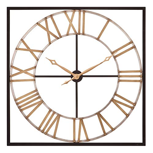 (Patton Wall Decor 36 Inch Square Bronze and Gold Metal Cut Out Roman Numeral Wall Clock Black)