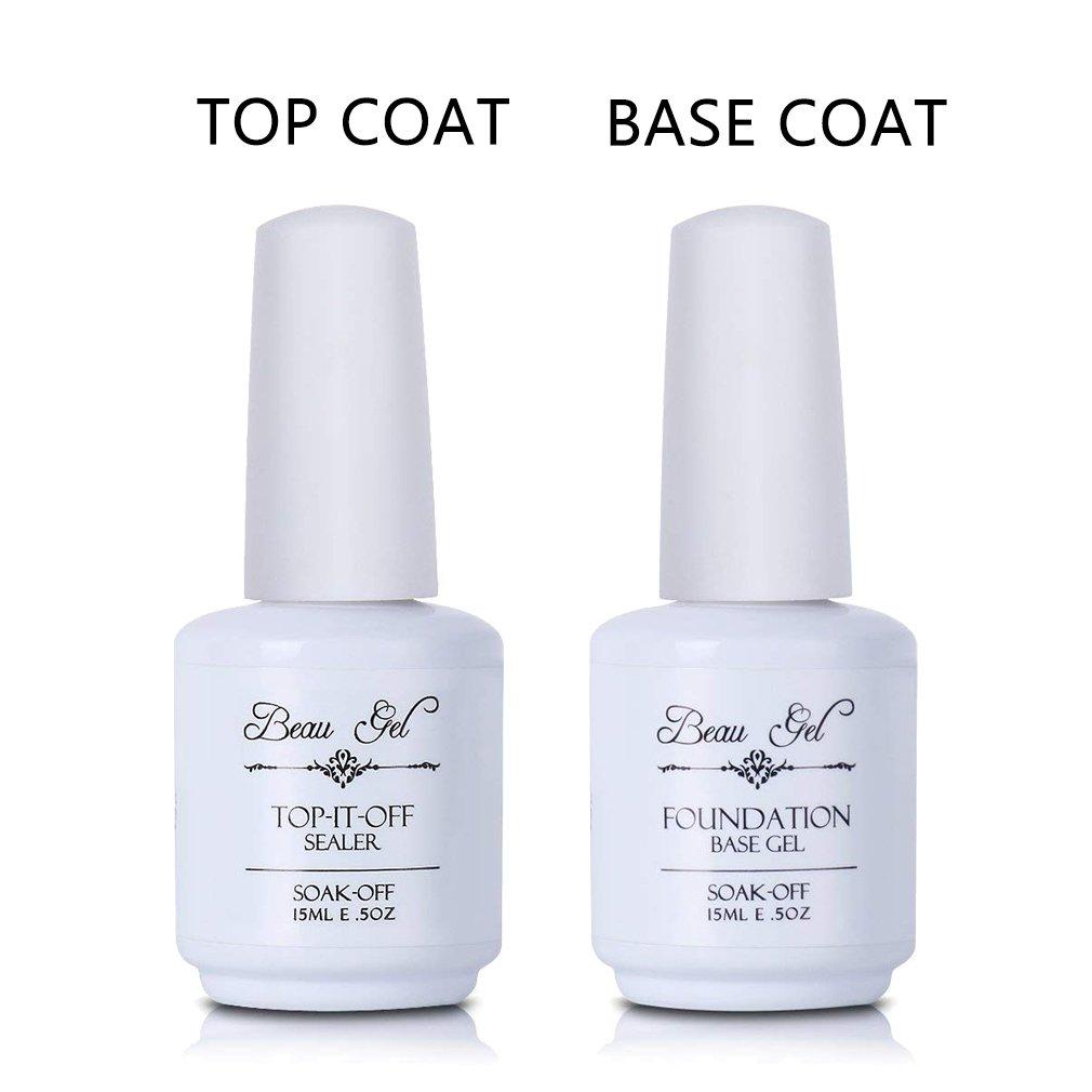 Amazon.com : Gel top and base coat, Beau Gel UV LED Soak off Gel ...