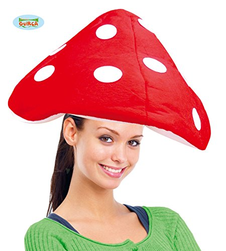 Red White Mushroom (Novelty Mario Costume Toadstool Hat Lined Red-White Mushroom)