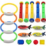 POKONBOY 17 Pack Diving Toys Underwater Swimming/Diving Pool Toys for Pool Sea Use Diving Sticks Diving Rings Diving Fishes Diving Treasures Underwater Game for Kids Adult Pool Party Favors