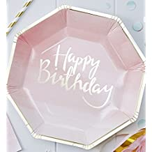 Ginger Ray PM-902 Pick And Mix Foiled Pink Ombre Happy Birthday Party Paper Plates (8 Pack), Gold
