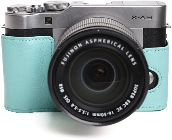 TP Handmade Genuine Real Leather Half Camera Case Camera Bag for FUJIFILM X-A3 XA3 Powerblue