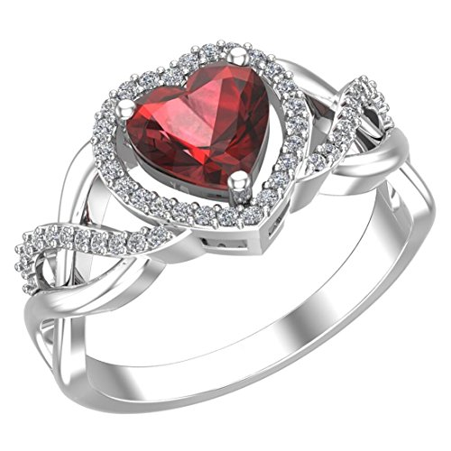 Red Stone Jewel - Belinda Jewelz 925 Solid Real Sterling Silver Heart Shaped Gemstone Cubic Zirconia Diamond Prong Rhodium Engagement Wedding Classic Womens Fine Jewelry Twisted Band Ring, Garnet Red, Size 5