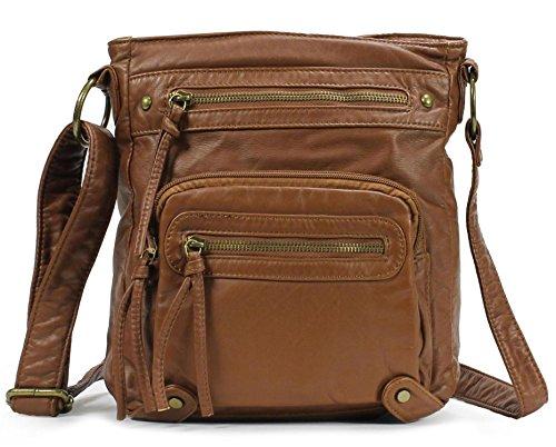 Scarleton Washed Multi Pocket Crossbody Bag H169304 - Brown