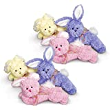 Floppy Pastel Stuffed Bunnies (Pack of 6)
