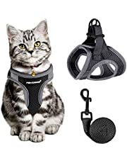 Cat Harness and Leash for Walking Escape Proof, Adjustable Cat Leash and Harness Set, Lifetime Replacement, Lightweight Kitten Harness, Easy Control Breathable Step-in Cat Vest with Reflective Strip(Black L)