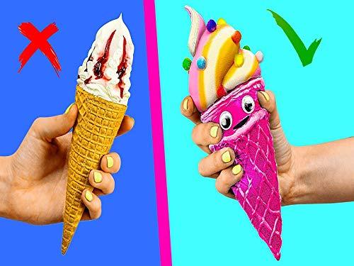 Cartoon Food Vs Real Food Challenge Squishy Burger -