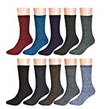 Epeius Womens's 10 Pair Pakc Vintage Knitting Multi-Color Warm Crew Socks,Shoe Size 5-9,Red/Blue Dark/Purple/Dark Grey/Gray/Coffee/Green/Beige/Brown