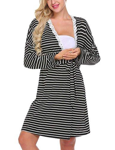 Womens V Neck Striped Long Sleeve Maternity Breastfeeding and Nursing Dress
