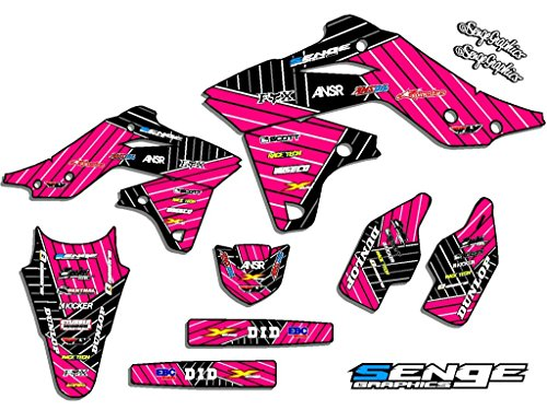 Senge Graphics kit compatible with Kawasaki 2002-2009 KLX 110, Race Series Pink Graphics Kit ()