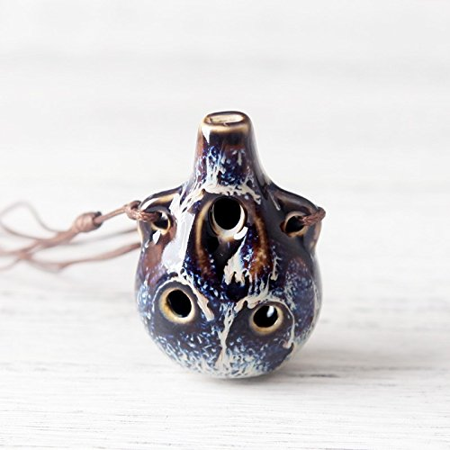Ocarina Hole Beginner Musical Instruments jingdezhen Ceramic Flute Variable Glaze Necklace Pendant Creative (Blue - Flat