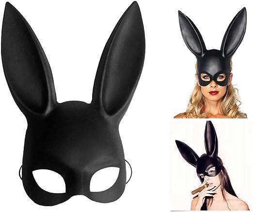 FunMove Máscara de Conejito Cosplay Máscara de Mascarada Negra ...