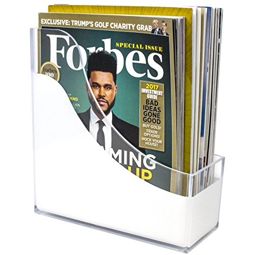 Sorbus Magazine Holder File Organizer, Great for Desktop, Shelf, Home or Office, White Clear (Magazine/File Holder)