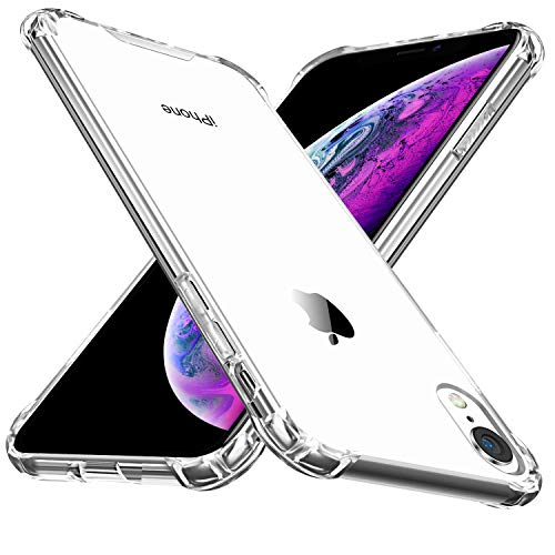 Sankmi Compatible iPhone XR Case, Clear Reinforced Corner TPU Cushion and Hybrid Shockproof Non Slip Transparent Hard Back Protection Case for iPhone XR 6.1 inch(Clear)