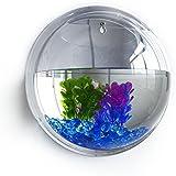 Awakingdemi Wall Mounted Hanging Wrapables Fish Bubble Bowl Plant Fish Tank Acrylic Flowerpot Fish Bowl Aquarium Tank Home Decor Mirror for Gold Fish and Beta Fish