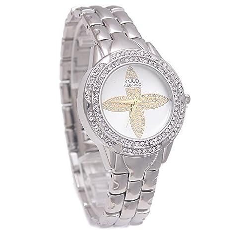 Sheli Casual Silver Motif Diamonds Simpliefied Wedding Birthday Gift Watch for Women Girlfriend, 33mm