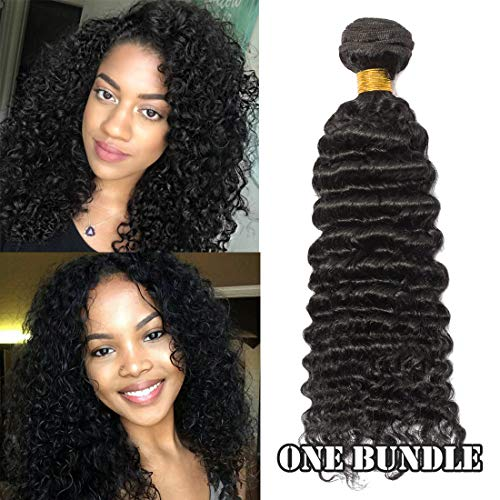 6A Virgin Hair Bundles Sew in Hair Extensions Deep Wave Curly 100% Unprocessed Brazilian Human Hair Weave Hair Weft Extensions for Women #1B Natural Black 30 Inch
