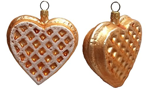 Pinnacle Peak Trading Company Heart Shaped Waffle Polish Glass Christmas Ornament Set of 2 Decorations -