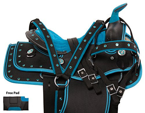 "Show Youth Saddle (10"" 12"" 13"" BLUE CHILD YOUTH FULL SIZE HORSE SADDLE WESTERN PLEASURE SHOW TACK SET PACKAGE SYNTHETIC (13))"