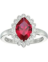 Platinum-Plated Sterling Silver Marquise Shaped Created Ruby Swarovski Zirconia Halo Ring