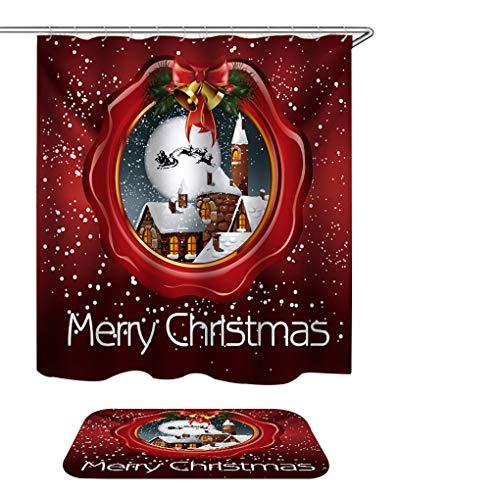 s Christmas Shower Curtain with Rugs, Classic Xmas Night Santa Claus Sleigh Chimney 72