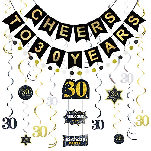 Litaus 30th Birthday Decorations for Women or Men, Cheers to 30 Years Banner, Hanging Swirls, Birthday Door Sign, Paper Garland for 30th Birthday Party, Wedding Anniversary, Party Decorations