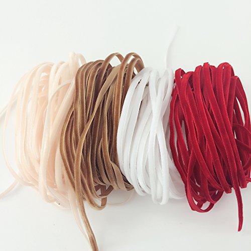 PEPPERLONELY 4 Color Set (5 Yard Each) Single Face Velvet Ribbon, 3mm (1/8 Inch)