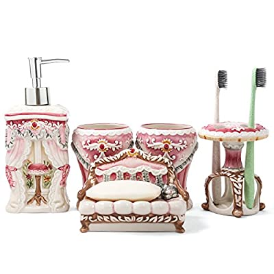 FORLONG FL3011 Ceramic Bathroom Accessories Set 4: 1 Gargle Cups,1 Toothbrush Holders,1 Soap Dishes,1 Soap Dispenser