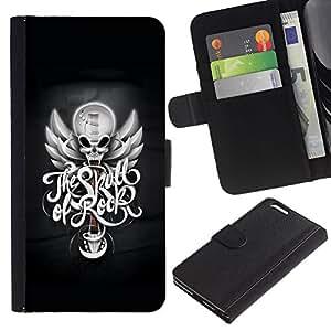 Caso Billetera de Cuero Titular de la tarjeta y la tarjeta de crédito de la bolsa Slot Carcasa Funda de Protección para Apple Iphone 6 PLUS 5.5 The Skull Of Rock / JUSTGO PHONE PROTEC