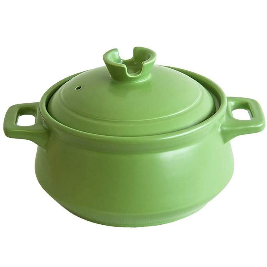YHLZ Home Casserole High Temperature Health Cooker Ceramic Small Casserole Soup Porridge Pot Open Fire Home Gas(Size:2.5L/3.5L Green) (Size : 3.5L)