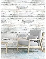 Wood Peel and Stick Wallpaper Shiplap Grey/White Removable Self-Adhesive Wallpaper,Waterproof Contact Papaer Shelf Liner for Home Decaration 17.7''x118.1''