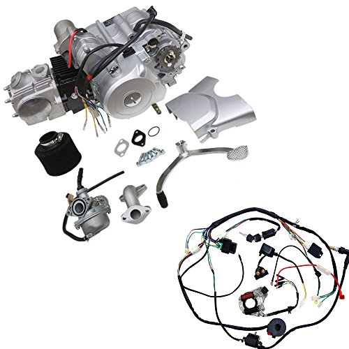 WPHMOTO 125cc 4-Stroke Semi-Auto Single-Cylinder Air-Cooled Electric-Start Motor Engine with Wiring Harness Kit for ATV Four Wheelers Quad bikes Tricycle go karts
