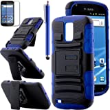 Pandamimi ULAK(TM) Navy Blue and Black Slide Belt Clip Holster Kick Stand Hard Cover Case for Samsung Galaxy S2 II T989 + Screen Protector + Stylus, Best Gadgets
