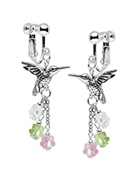 Body Candy Handcrafted Silver Plated Hummingbird Clip On Earrings Created with Swarovski Crystals