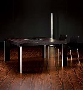 Walnut Modloft Varick Modern Art Square Casual Dining Table with Glass Center Piece