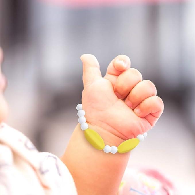 Pulsera Mordedor Lactancia Prenatal de Silicona Antibacteriana - Sin BPA, Hipoalergénico, Ecológico, Vegano - Ayuda a Prevenir el Dolor de Dientes y ...