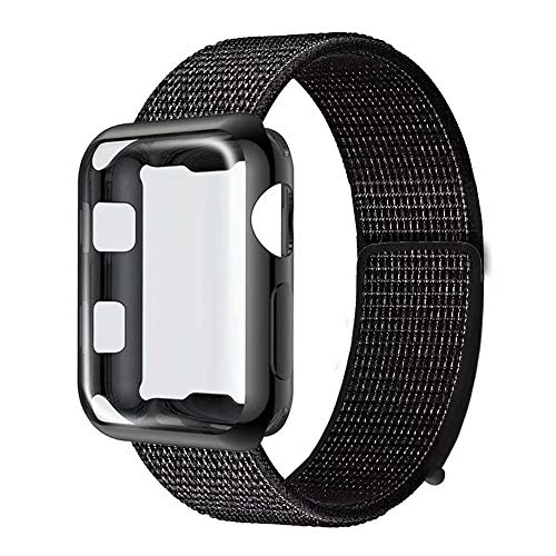GBPOOT Compatible for Apple Watch Band 42mm with Screen Protector Case,Soft Nylon Sport Loop Replacement Wristband with Protective Case Compatible for Apple Watch Iwatch Series 1/2/3-Reflector Black