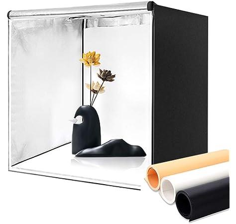 Amzdeal Caja de Luz Fotografia 80 x 80 x 80cm Kit Caja de Fotografia Portátil Plegable con 2 Tiras de LED 5500K + 3 Fondos (Blanco, Negro, Naranja) y Bolsa de Transporte