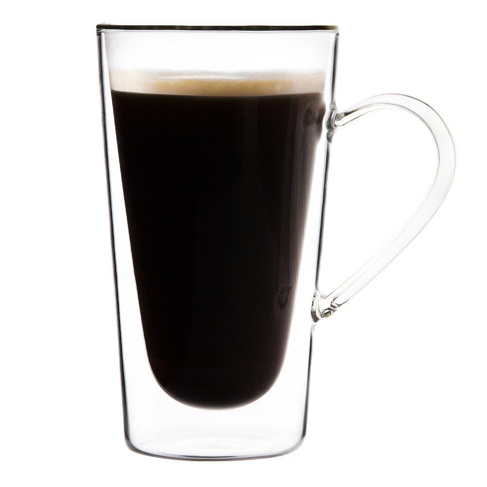 TRIANGLE Set of 4, Large Double-wall Insulated Glass Coffee Mug with Handle, Borosilicate Glass, 10oz, Dishwasher Safe, Tall Glass Irish Coffee Mugs, Tea Cup, Beer Mug, Ice Tea, Latte Glasses