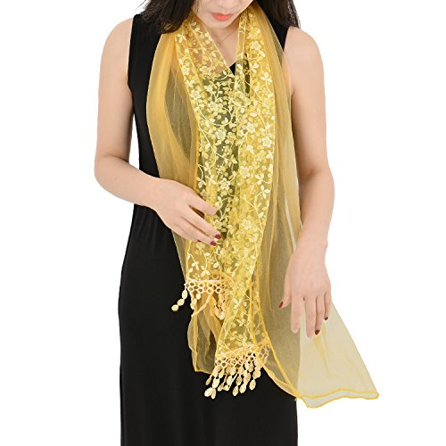 GSG Ladies Light Evening Shawl Wrap Lace Scarf Floral Embroidery + Petal Fringe Autumn Winter Warm Tassel Scarf for Women Birthday Gift - Backpack Diy Lace