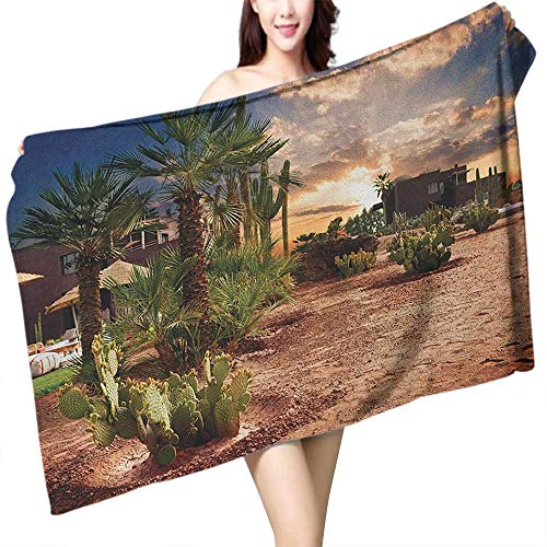 flymeeo Custom Bath Towel Desert Majestic Sky View Palm Trees and Cactus in Oasis Morocco Tropic Nature W31 xL63 Suitable for bathrooms, Beaches, Parties
