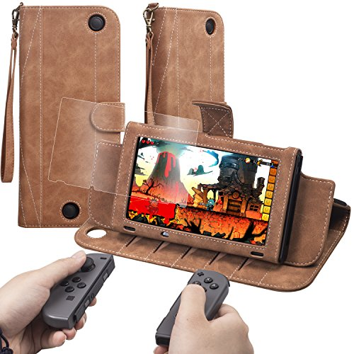 XGUO Nintendo Switch Cover Case Flip Leather Wallet With Screen Protector Card Slot Magnetic Closure Wrist Strap [Brown]