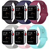 ATUP Compatible with for Apple Watch Replacement Band 38mm 40mm 42mm 44mm Women Men, Soft Silicone Band Compatible with for iWatch Series 4, 3, 2, 1 (# 6 Colors, 42mm/44mm-M/L)