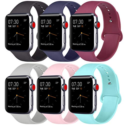 ATUP Compatible with for Apple Watch Band 38mm 40mm 42mm 44mm Women Men, Soft Silicone Replacement Bands Strap for iWatch Apple Watch Series 4, Series 3, Series 2, Series 1 (031, 6 PACK, 38mm/40mm-M/L)