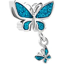 DemiJewelry Mother Child Butterfly Charms Valentine's Day Beads for Charm Bracelet