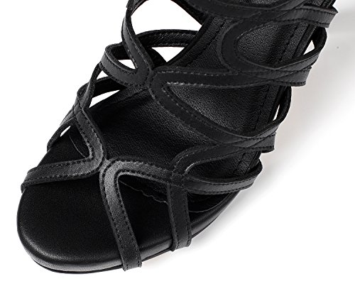 Lizform Vrouwen Gekruist Platform Sandaal Schoenen Terug Trouwjurk Pumps Strappy Hoge Hakken Zwart