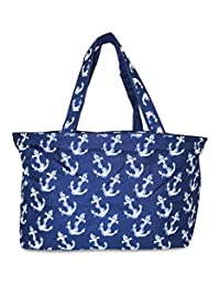 Ever Moda Beach Tote Bag - Navy Anchors